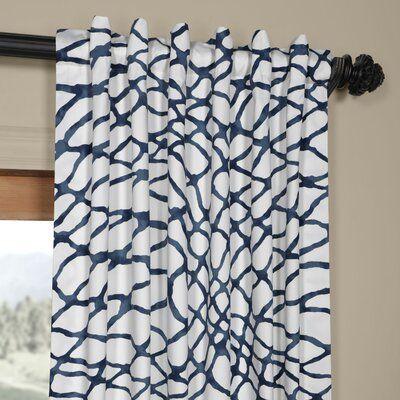 Decker Leite Printed Cotton Twill Geometric Room Darkening Rod Pocket Single Curtain Panel