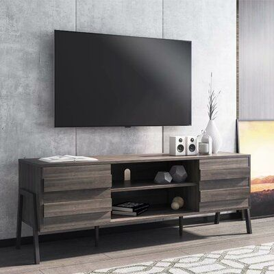 WAMPAT  Mid-Century Modern TV Stand For Up To 65 Flat Screen , Wood TV Console Storage Cabinet, Rustic Home Media Entertainment Center, Rustic Oak
