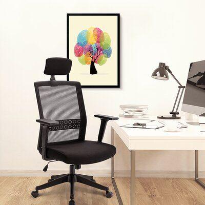 Inbox Zero Ergonomic Office Chair Adjustable Headrest Mesh Office Chair Office Desk Chair Computer Task Chair Black