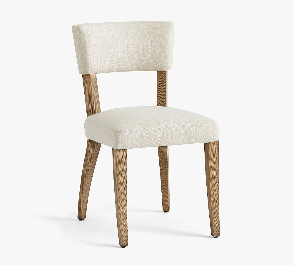 Payson Upholstered Dining Side Chair, Seadrift Leg, Basketweave Slub Oatmeal