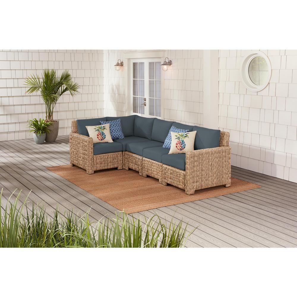 Hampton Bay Laguna Point 5-Piece Natural Tan Wicker Outdoor Patio Sectional Sofa with Sunbrella Denim Blue Cushions
