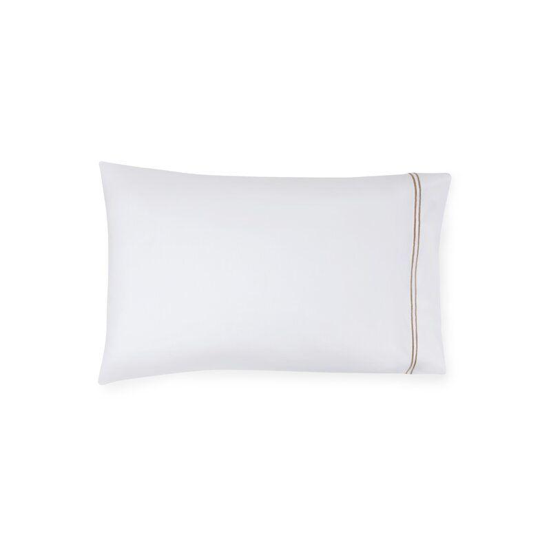 SFERRA Grande Hotel Pillow Case Size: Standard, Color: White/Taupe