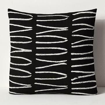 Sadza Batik Pillows, Lines, Black + White