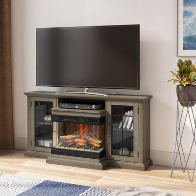 """Aubriella TV Stand for TVs up to 65"""" with Electric Fireplace Included"""