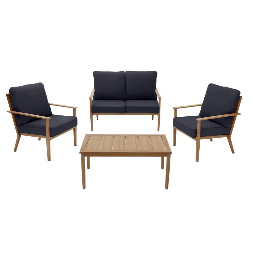 Hampton Bay Alderton 4-Piece Brown Metal Outdoor Patio Conversation Deep Seating Set with CushionGuard Midnight Navy Blue Cushions