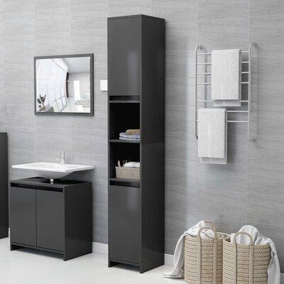 """Aminur 11.81"""" W x 72.24"""" H x 11.81"""" D Linen Cabinet"""