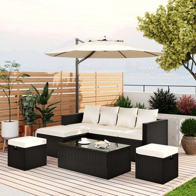 5-pcs Patio Furniture Set With Glass Table And Adjustable Chair(beige)