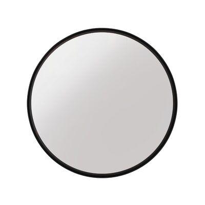 """24"""" Round Mirror, Black Wb"""