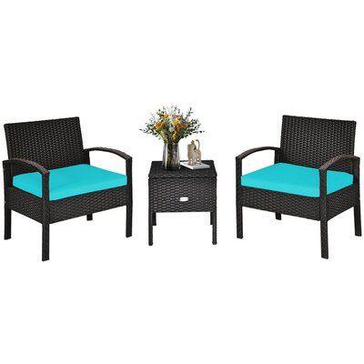 Winston Porter 3pcs Rattan Patio Conversation Furniture Set W/ Storage Table Turquoise Cushion