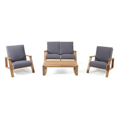 Newport Outdoor 4 Piece Sofa Seating Group with Cushions