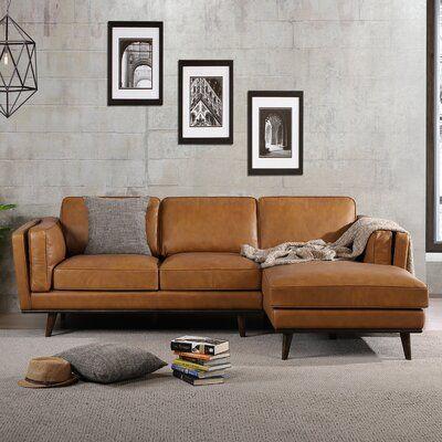 "Velasquez 92.9"" Genuine Leather Sofa & Chaise Right"