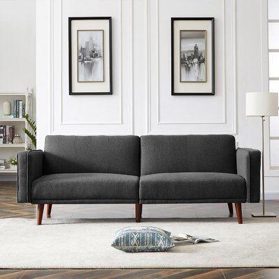 Masset Twin 85'' Wide Linen Cushion Back Convertible Sofa
