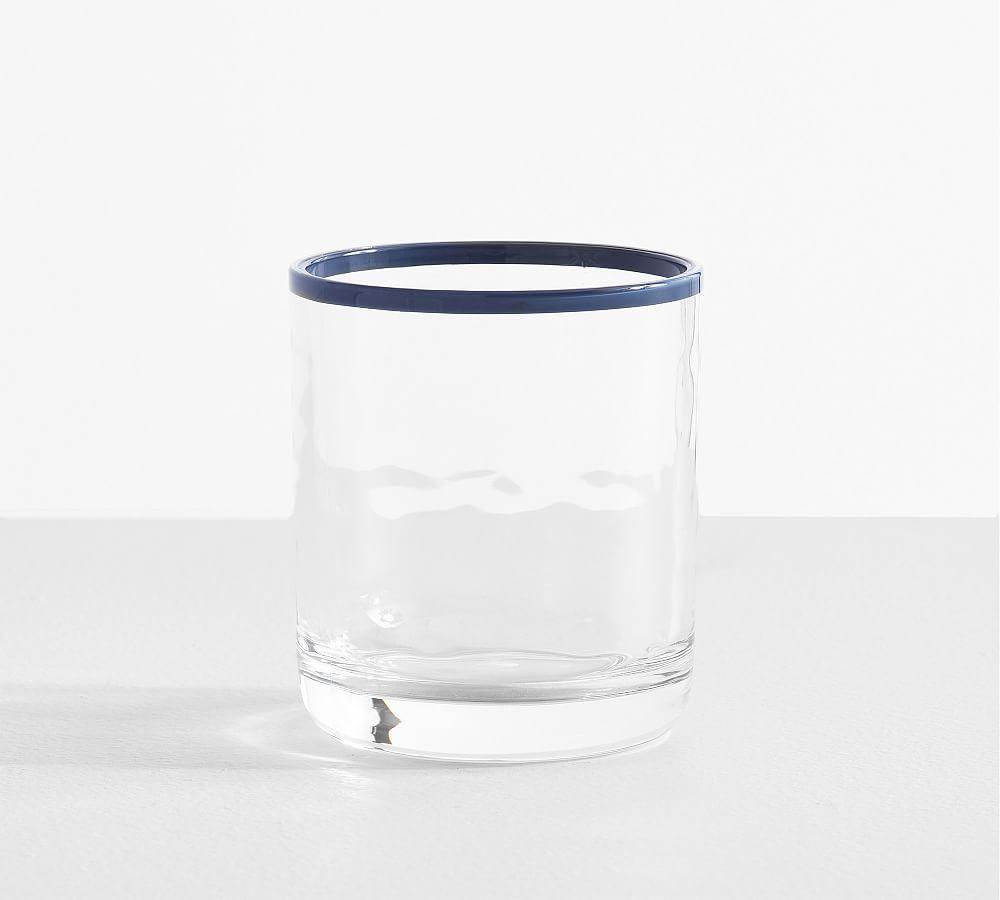 Stripe Rim Acrylic Short Drinking Glasses, 12 oz., Set of 4 - Blue
