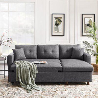 "Humbert 86.22"" Wide Linen Reversible Sleeper Sofa & Chaise"