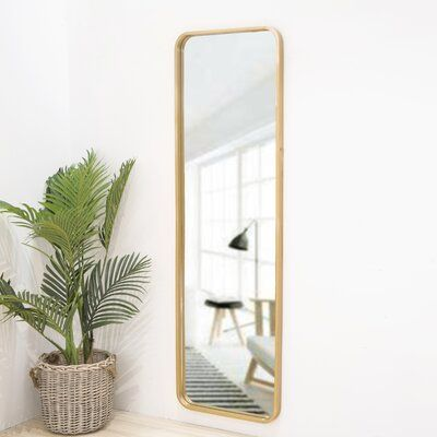 64.5 Inch High Gold Rounded Frame With Floor Stand Wrought Iron Full Length Mirror