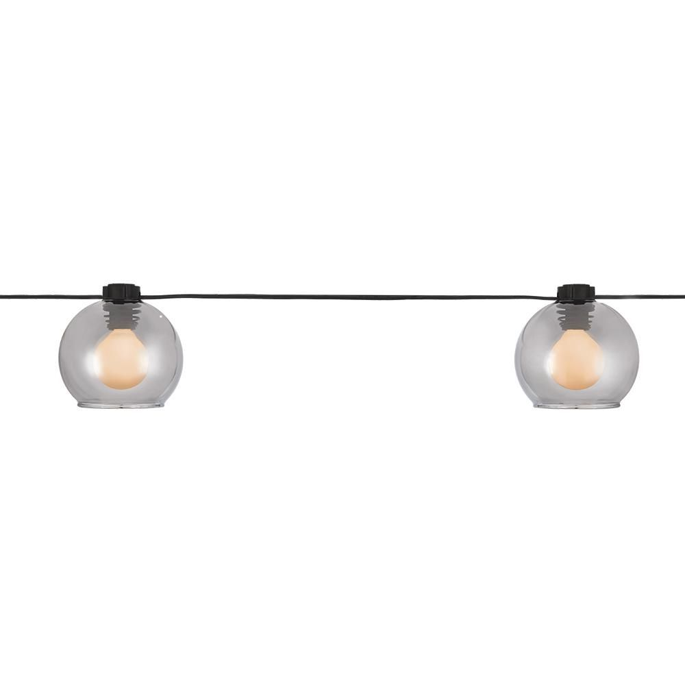 Hampton Bay 2-Pack Outdoor/Indoor 10 ft. Plug-In G Type Bulb Incandescent String Light with 8-Smoky Glass Shades