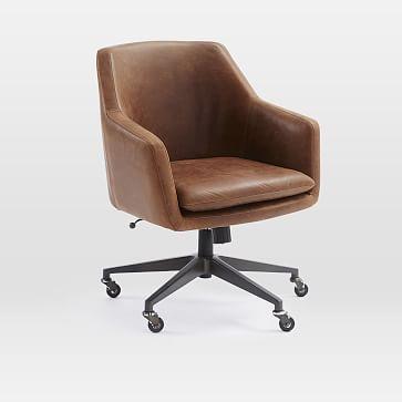 Helvetica Desk Chair, Leather, Molasses, Antique Bronze