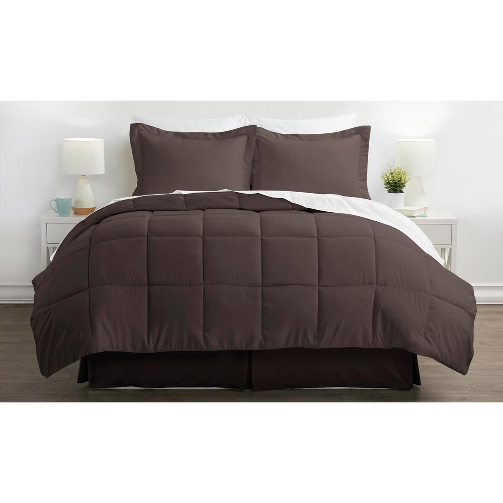 Bed In A Bag Performance Chocolate (Brown) Queen 8-Piece Bedding Set