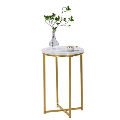 Brucker Marble Top Frame End Table