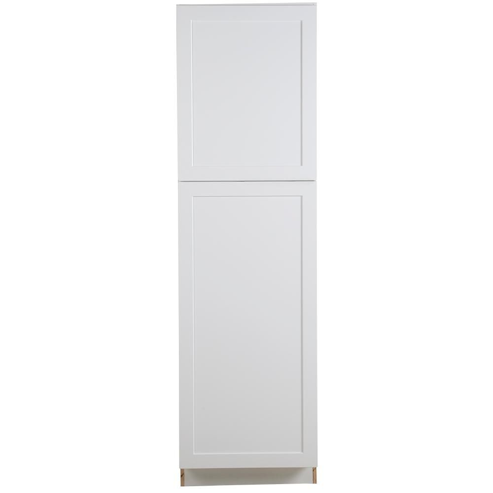 Hampton Bay Cambridge Assembled 84x24x24.5 in. Pantry Cabinet with adjustable shelves in White