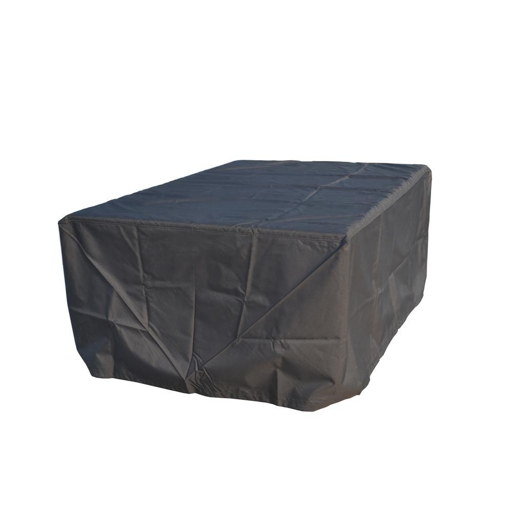 DIRECT WICKER Large Rectangular Weather-Proof Furniture Cover for Outdoor Patio Table and Chair Set, Black