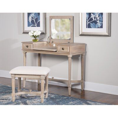 June Vanity Set with Stool and Mirror