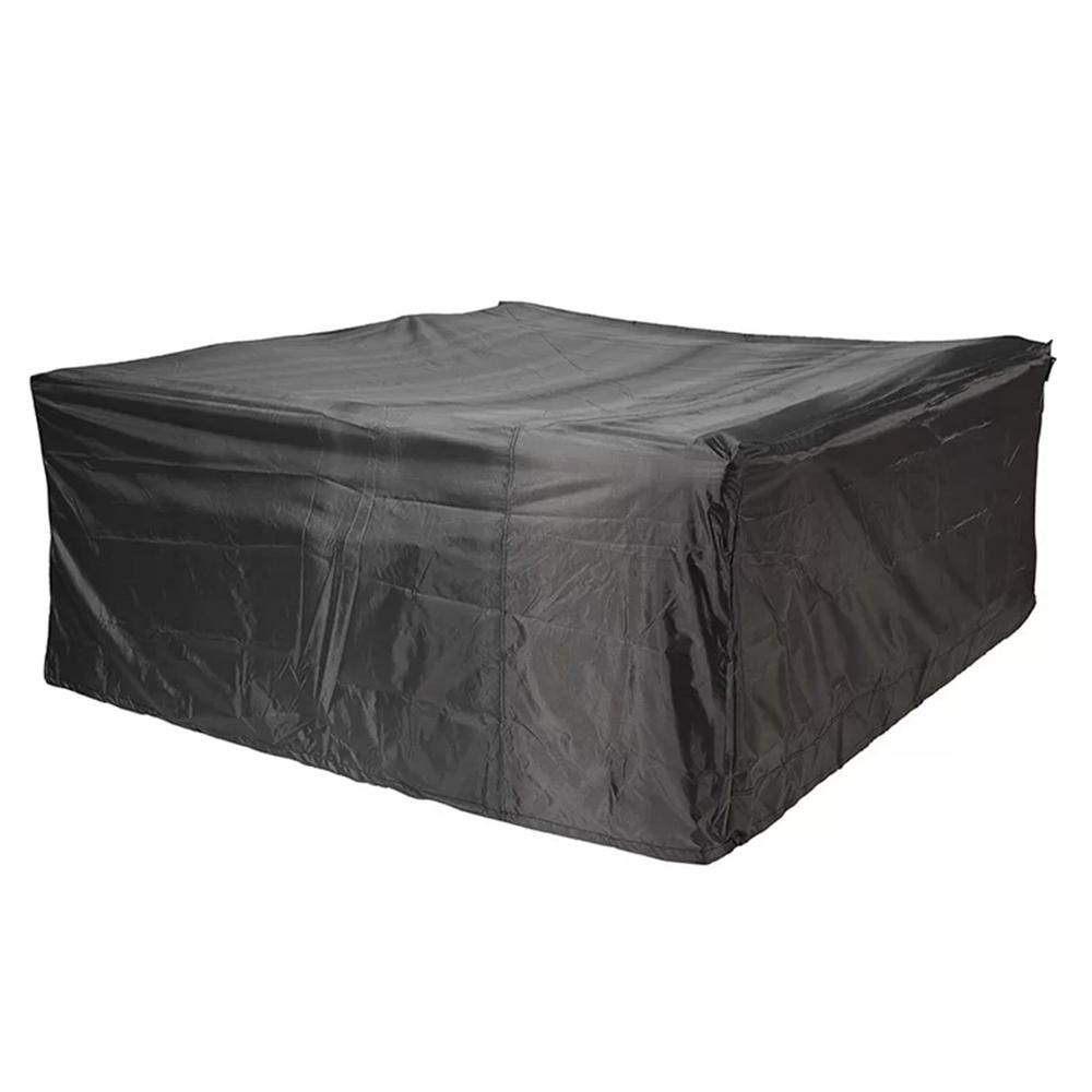 DIRECT WICKER Plus Large 106 in. x 106 in. x 28 in. Square Dining Set Garden Patio Furniture Cover, Black