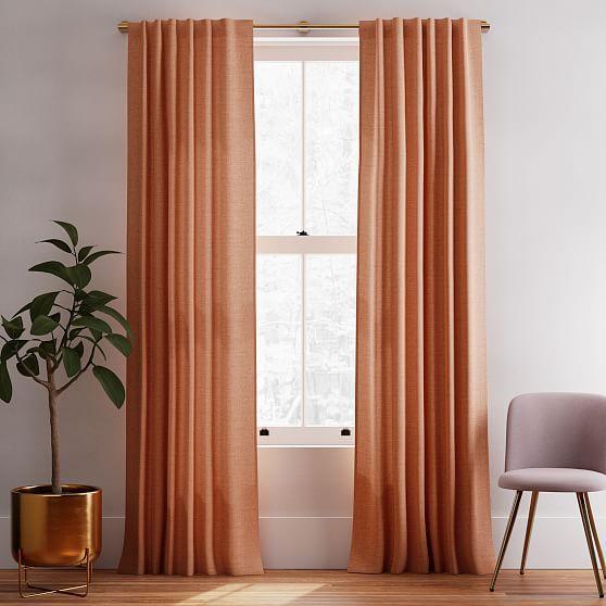 "Solid European Flax Linen Melange Curtain, Terracotta, 48""x84"", Set of 2"