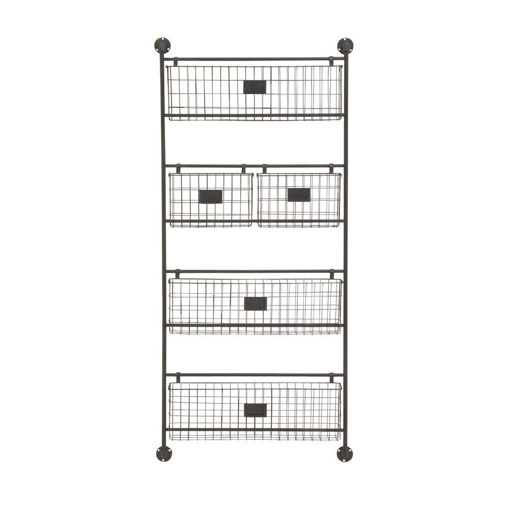 24 in. W x 61 in. H 4-Tiered 5-Basket Metal Wall Rack in Metallic Black