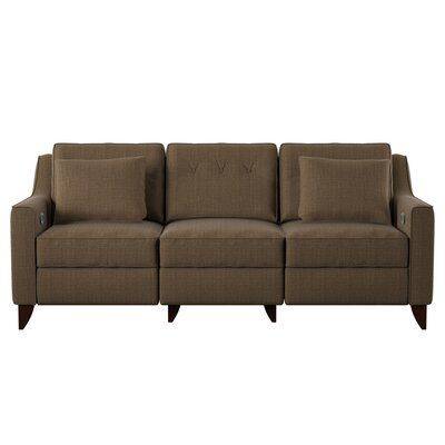 "Medora Cotton Reclining 88"" Square Arm Sofa"