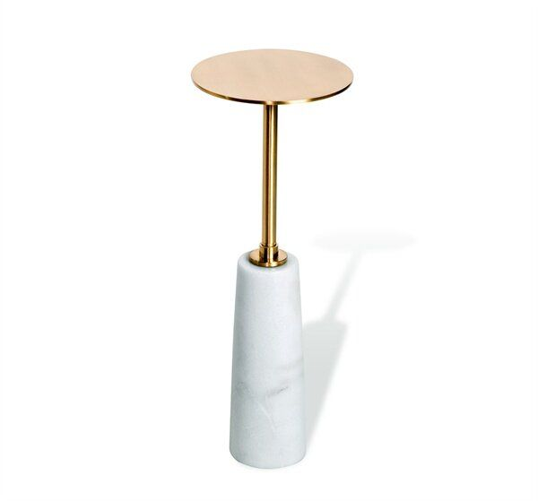 Interlude Beck Drink End Table Table Base Color: White, Table Top Color: Antique Brass