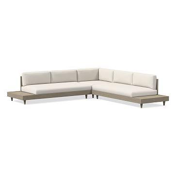 Portside Low 3-Piece Sectional, 2X Sofa & Corner, White, Sunbrella(R) Piazza