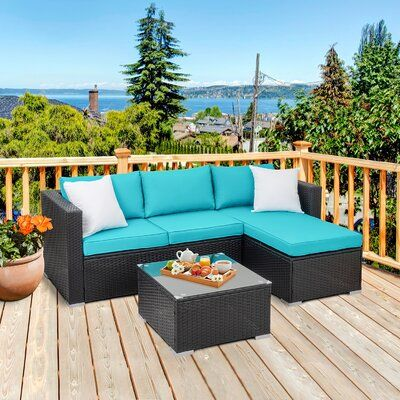 Swannanoa 3 Piece Rattan Sectional Seating Group with Cushions