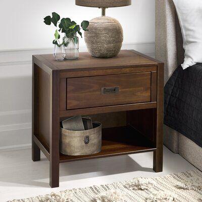 Lockley Solid Wood 1 Drawer Nightstand