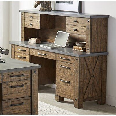 Flanary Solid Wood Executive Desk with Hutch