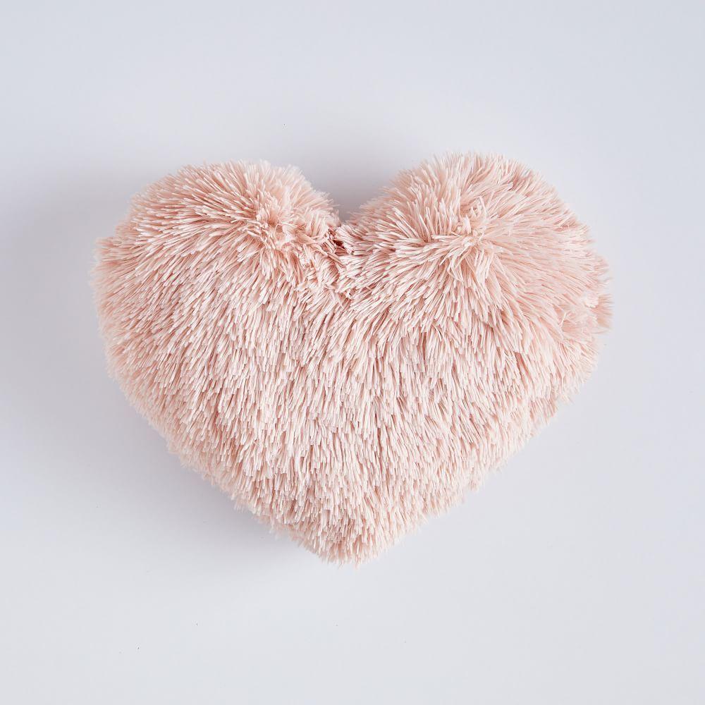 """St. Jude Fluffy Heart Pillow, 16"""" x 14"""", Quartz Blush"""