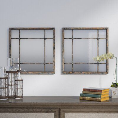 2 Piece Remo Square Traditional Beveled Distressed Mirror Set
