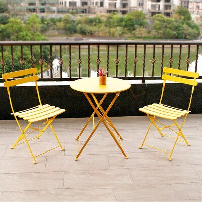 Premium Steel Patio Bistro Set, Folding Outdoor Patio Furniture Sets, 3 Piece Patio Set Of Foldable Patio Table And Chairs, Yellow