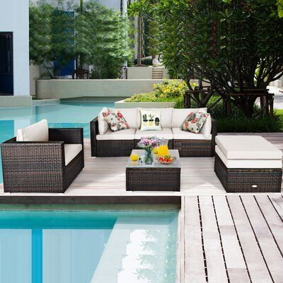 Patiojoy 6pcs Rattan Patio Furniture Set Cushioned Sofa Chair Ottoman Black