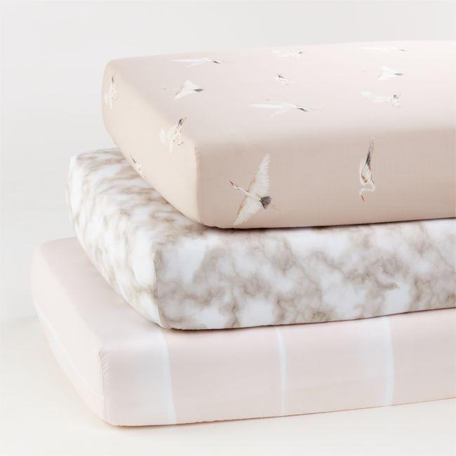 Organic Egret Crib Fitted Sheet, Set of 3