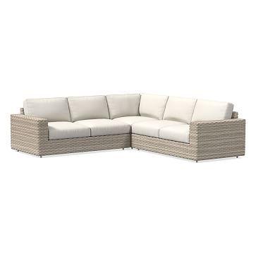Urban Summer 3-Piece Sectional Cushion Covers, White, Sunbrella(R) Piazza