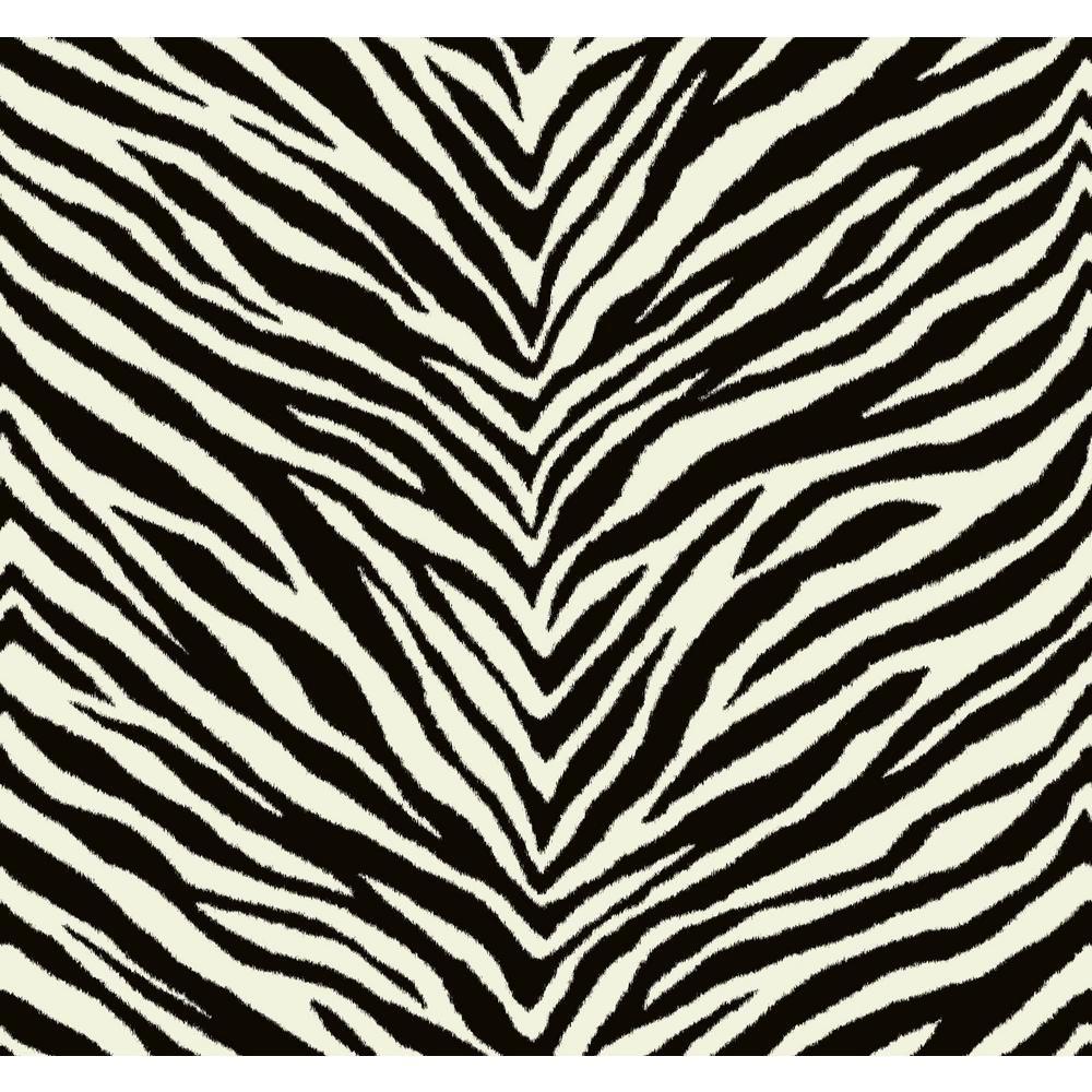 Seabrook Designs Zebra Chevron Black and White Animal Print Wallpaper