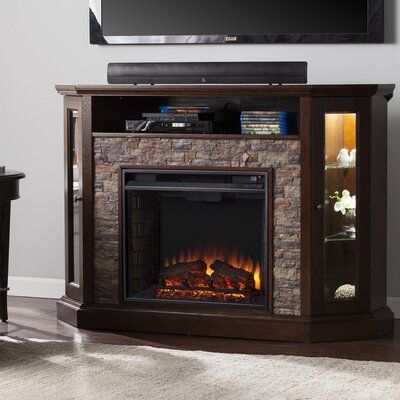 """Vanegas TV Stand for TVs up to 58"""" with Electric Fireplace Included"""