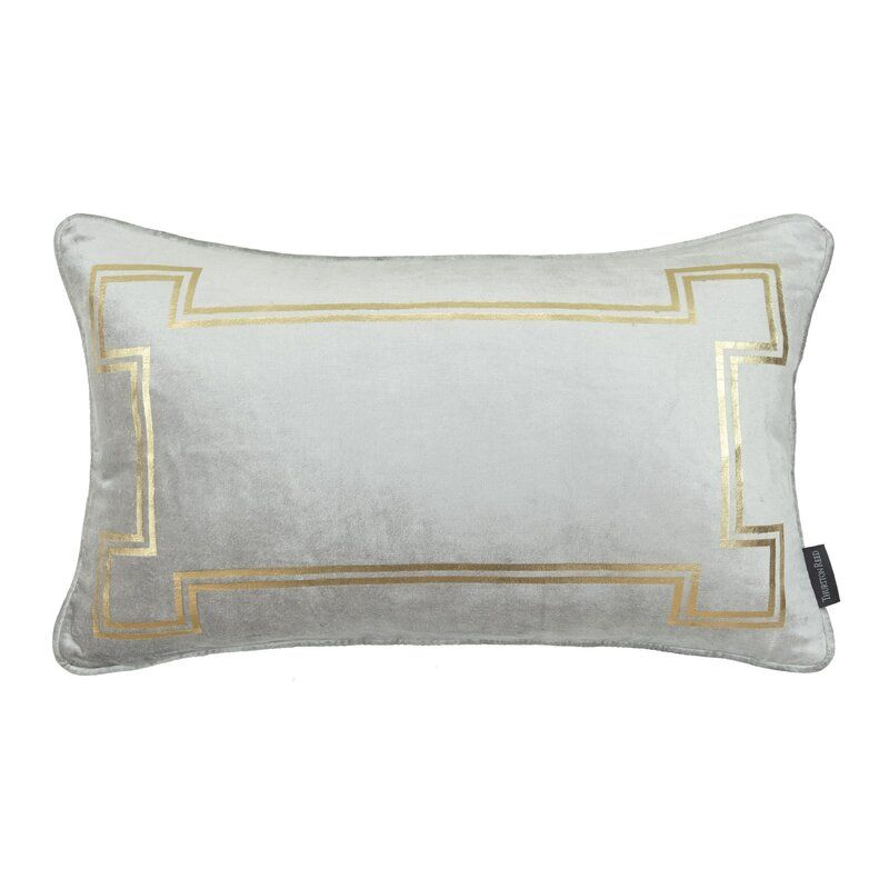 Thurston Reed Velvet Feathers Lumbar Pillow Color: Cool Gray