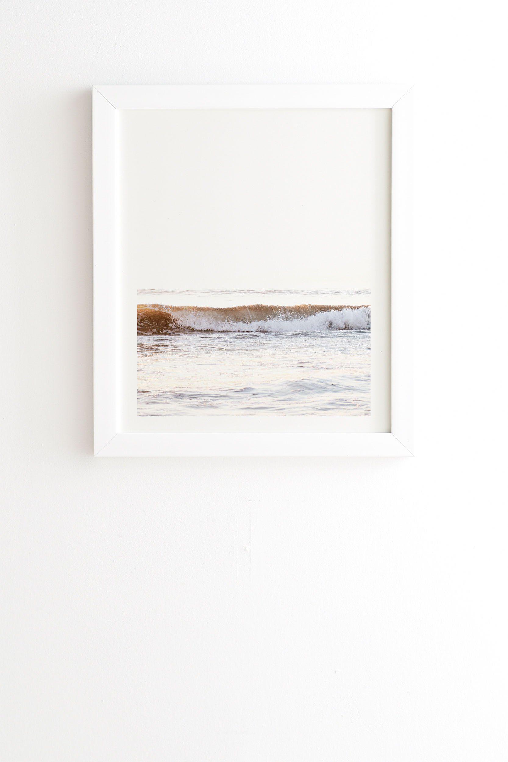 "Framed Wall Art White, Minimalist Wave, 14"" x 16.5"""