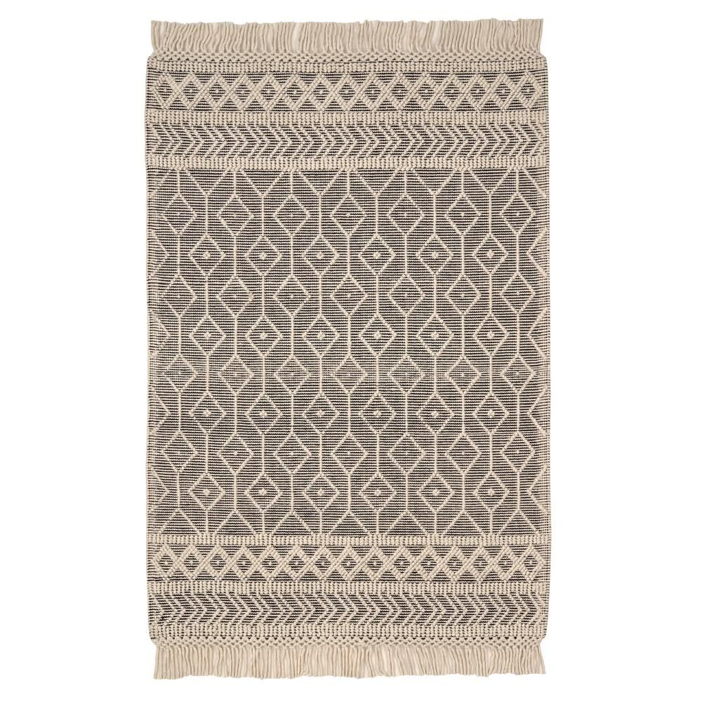 Home Decorators Collection Winchester Cream/Black 5 ft. x 7 ft. Wool Area Rug