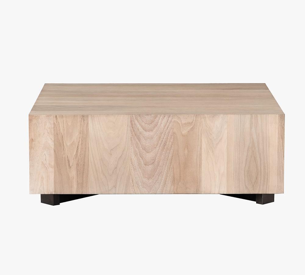 """Terri 40"""" Cube Coffee Table, Gunmetal & Ashen Walnut"""