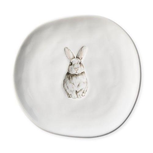 Debossed Bunny Appetizer Plates, Set of 4, Bunny