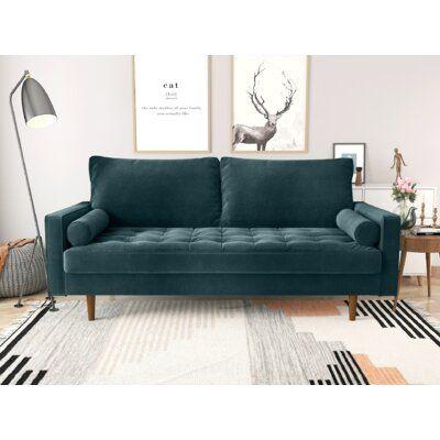 "Mauck 72"" Wide Velvet Square Arm Sofa"