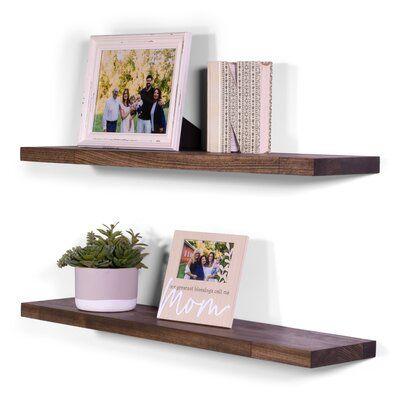 Carissa 2 Piece Poplar Solid Wood Floating Shelf